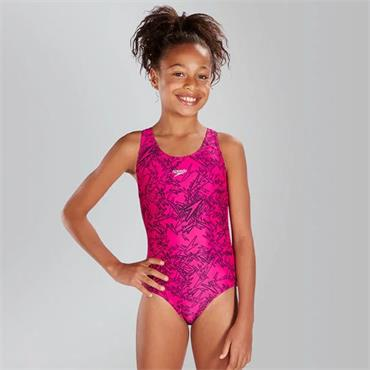 Speedo Girls Boom Allover Swimsuit - Pink/Black