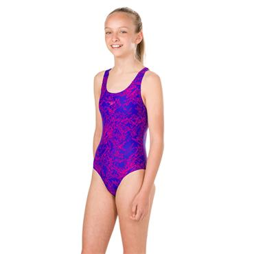 Speedo Girls Boom Spliceback Swimsuit - Blue/Pink