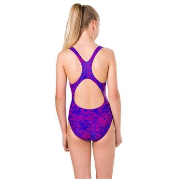 Speedo Girls Boom Spliceback Swimsuit - Blue/Pink