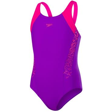 Speedo Girls Boom Splice Swim Suit - Purple/Pink