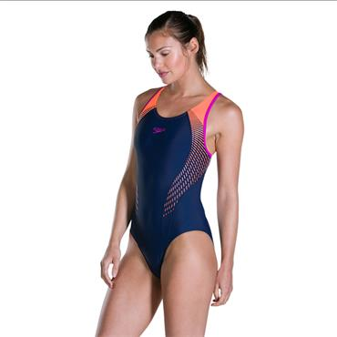 Speedo Womens Fit Laneback Swimsuit - Navy/Orange
