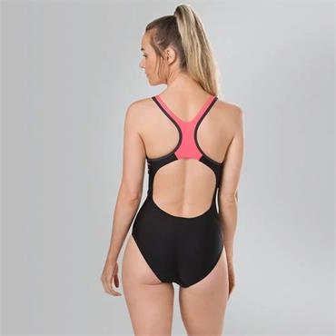 Speedo Womens Laneback Swimsuit - Black/Pink