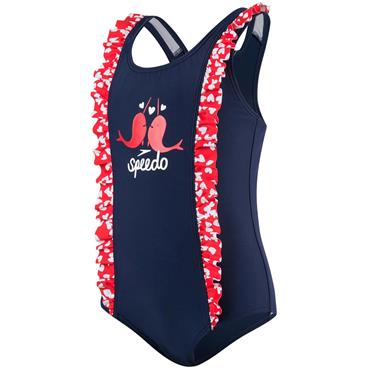 Speedo Girls Double Frill Swimsuit - Blue/Red