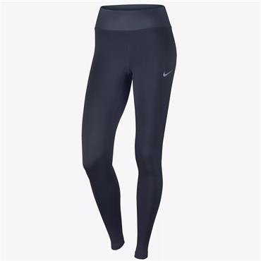 NIKE WOMENS MID RISE RUNNING TIGHTS - NAVY