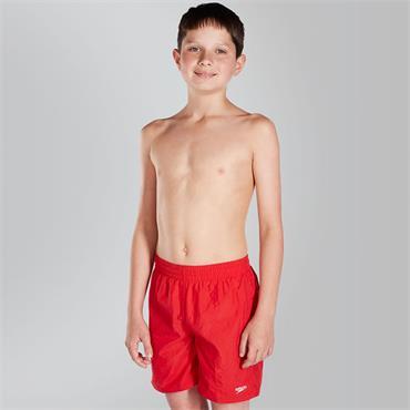 "SPEEDO BOYS SOLID LEIS 15"" SWIM SHORTS - RED"