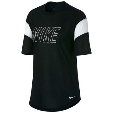 NIKE WOMENS DRIFIT TRAINING TSHIRT - BLACK/WHITE