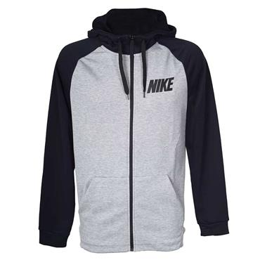 NIKE MENS DRI-FIT FULL ZIP HOODIE - GREY