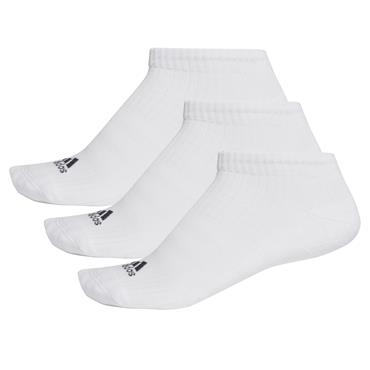 Adidas 3 Stripe No Show Socks 3 Pairs - White