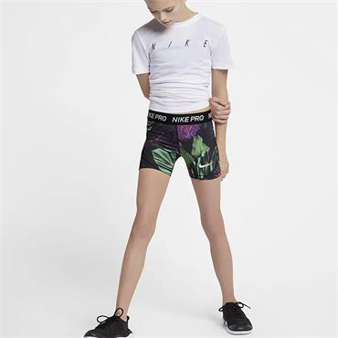 Nike Girls Pro Spring Print Shorts - Black Multi