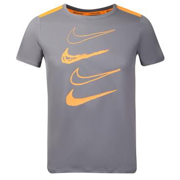 Nike Boys Dri-Fit Swoosh T-Shirt - Grey/Orange