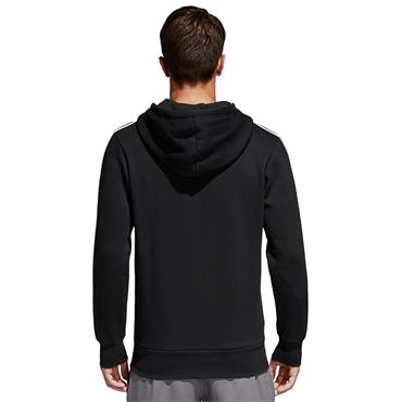 ADIDAS MENS 3 STRIPE FULL ZIP HOODY - BLACK