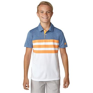 BOYS GOLF 3 STRIPES POLO SHIRT - WHITE/BLUE