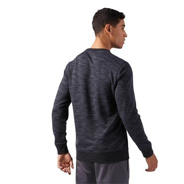MENS MARBLE MELANGE CREW SWEATER - CHARCOAL GREY