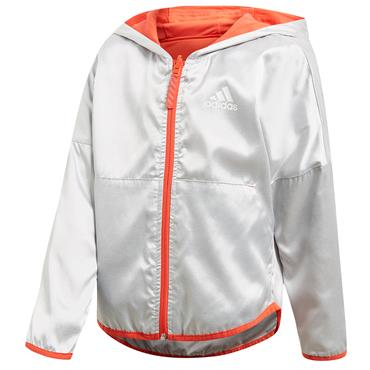 Adidas Girls Reversible Hooded Jacket - Orange/Grey