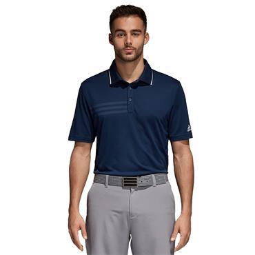 Adidas Mens 3 Stripes Golf Polo Shirt - Navy
