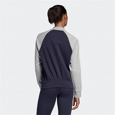 ADIDAS WOMENS FULL ZIP BOMBER JACKET - GREY/NAVY