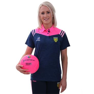 WOMENS DONEGAL COLORADO 05 POLO - MARINE/PINK/COTTON CANDY