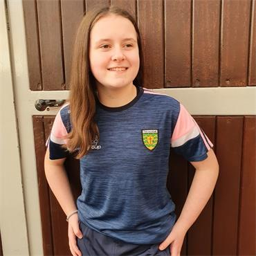 O'Neills Girls Donegal GAA Portland 060 T-Shirt - NAVY/PINK