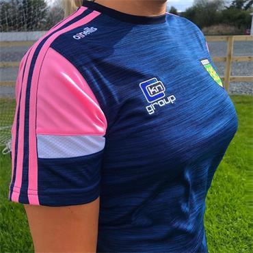 O'Neills Womens Donegal GAA Portland 060 T-Shirt - NAVY/PINK