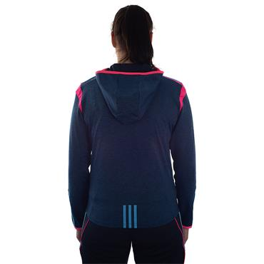 WOMENS DONEGAL SOLAR 21 BRUSHED FZ HOODY - MARINE/PINK/BLUE