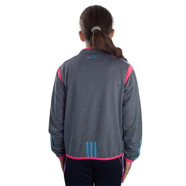 GIRLS DONEGAL SOLAR 30 HALF ZIP TOP - GREY/PINK/BLUE