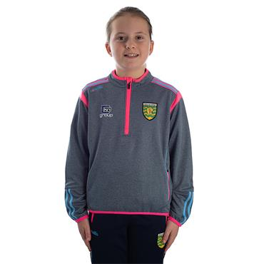 O'Neills Girls Donegal GAA Solar 30 Half Zip Top - Grey/Pink/Blue