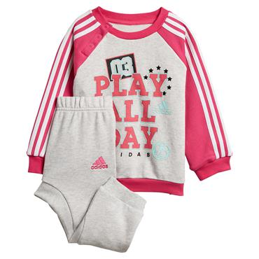 ADIDAS GIRLS GRAPHIC JOGGER TRACKSUIT - GREY/PINK