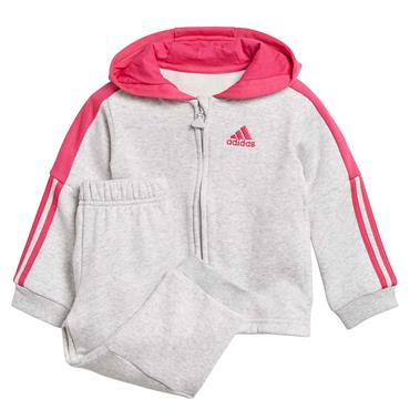Adidas Infant Full Zip Tracksuit - Grey/Pink
