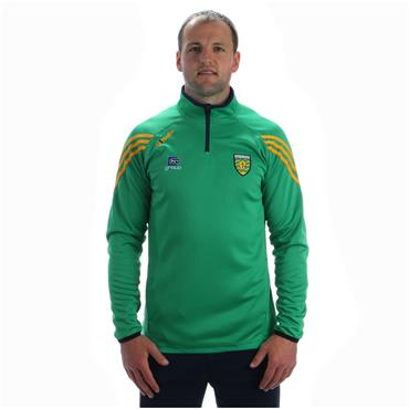 ADULTS DONEGAL DARWIN HALF ZIP TOP - GREEN/AMBER