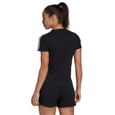 Adidas Womens 3 Stripe Slim T-Shirt - Black/White