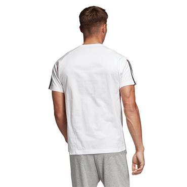 Adidas Mens 3 Stripe T-Shirt - White/Black