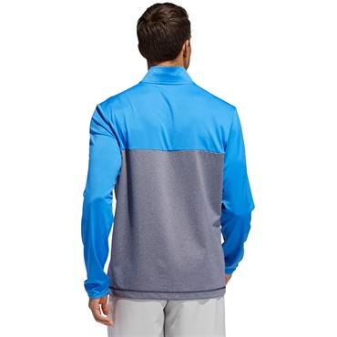 Adidas Mens 3 Stripe Golf Half Zip - Grey/Blue