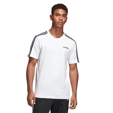 Adidas Mens Essentials 3 Stripe T-Shirt - White/Black