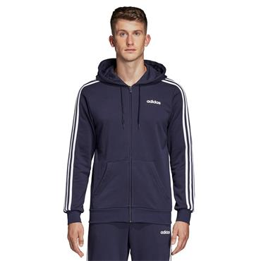 Adidas Mens 3 Stripe Full Zip Hoodie - Navy/White