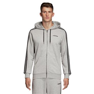 Adidas Mens Essentials Full Zip Hoodie - Grey/Black