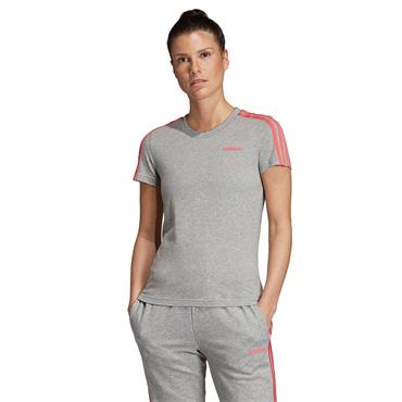 Adidas Womens 3 Stripe Slim T-Shirt - Grey/Pink
