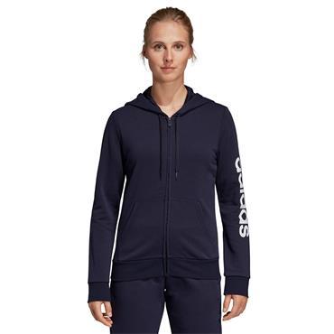 Adidas Womens Linear Full Zip Essentials Hoodie - Navy