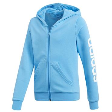 Adidas Girls Essentials Linear Full Zip Hoodie - Blue