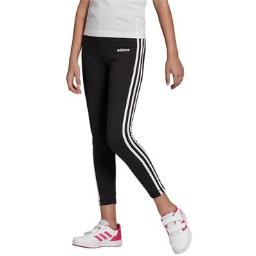 Adidas Girls Essentials 3 Stripe Leggings - Black/White