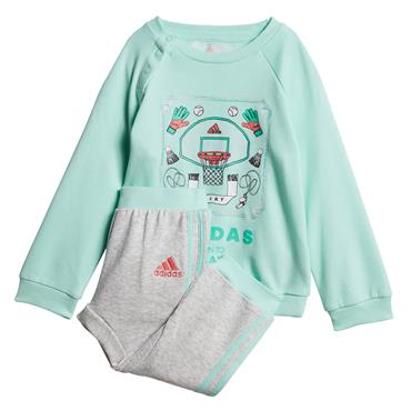 ADIDAS INFANT GRAPHIC JOGGER TRACKSUIT - MINT/GREY