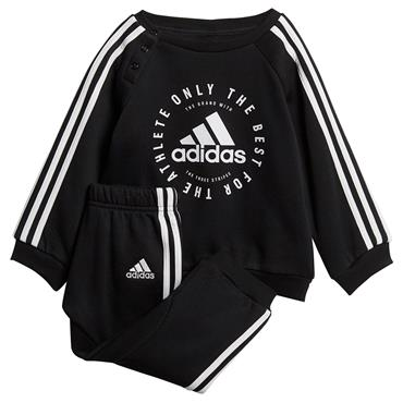 Adidas Kids 3 Stripe Jogger Tracksuit - Black/White