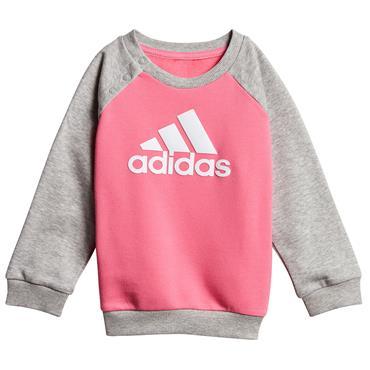 Adidas Girls Logo Jogger Tracksuit - Pink/Grey