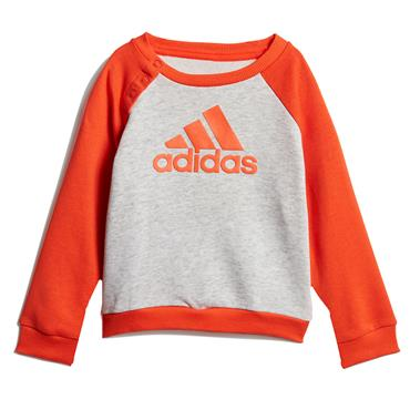 Adidas Boys French Terry Jogger Tracksuit - Grey/Orange