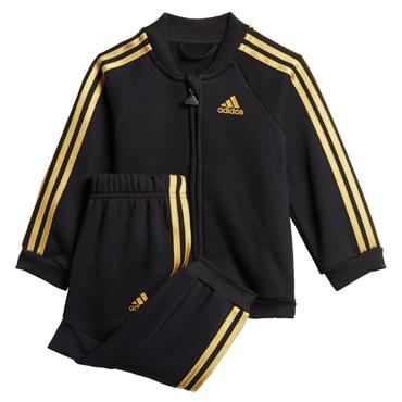 Adidas Kids 3 Stripe Tracksuit - Black/Gold