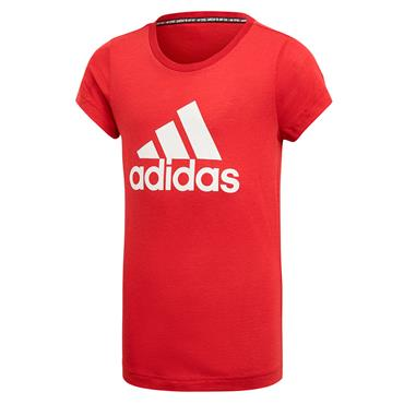 Adidas Girls Badge of Sport T-Shirt - Red
