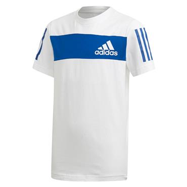 Adidas Boys Sport ID T-Shirt - White/Blue