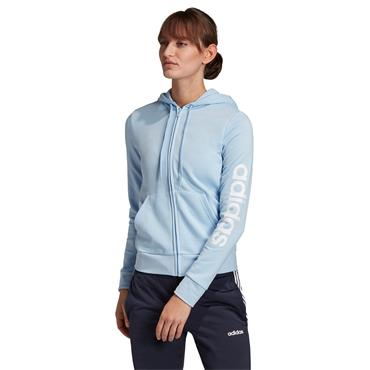 Adidas Womens Essentials Linear Full Zip Hoodie - Blue