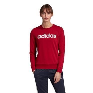 Adidas Womens Essentials Linear Sweatshirt - Red