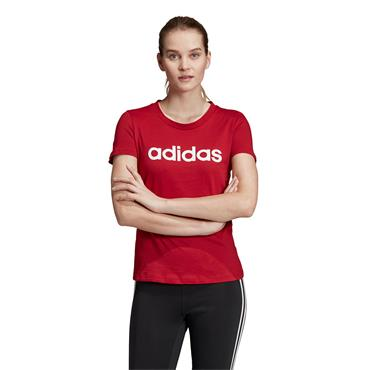 Adidas Womens Essentials Linear T-Shirt - Red