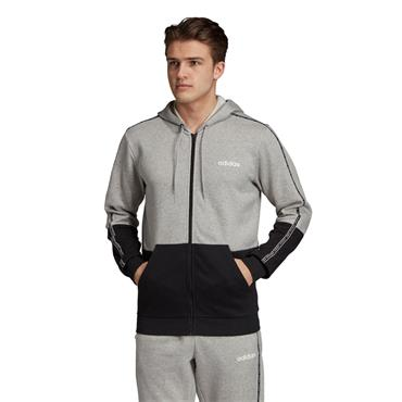 Adidas Mens Colourblock Full Zip Hoodie - Grey/Black